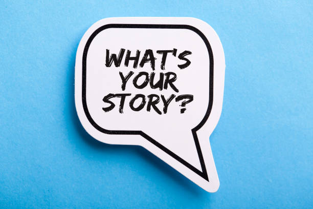 What Is Your Story Speech Bubble Isolated On Blue Background stock photo