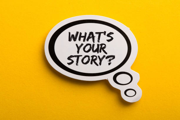 What Is Your Story Speech Bubble Isolated On Yellow Background