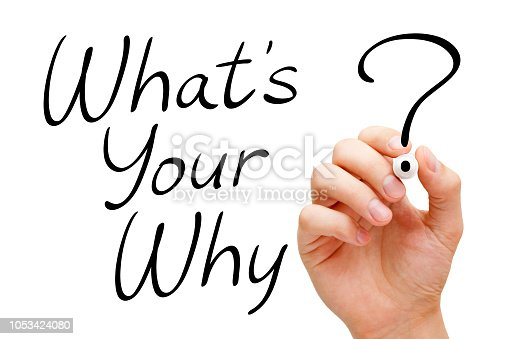 Hand writing existential question What Is Your Why with black marker on transparent glass board isolated on white.