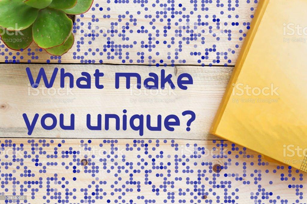 What make you unique concept stock photo