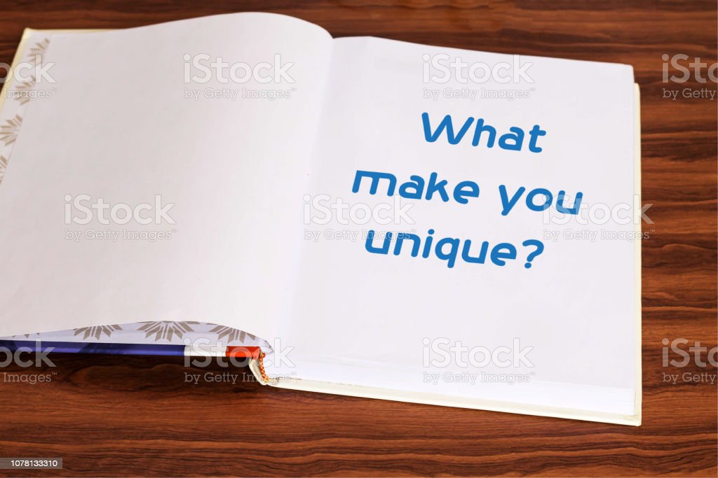 What make you unique on notebook stock photo