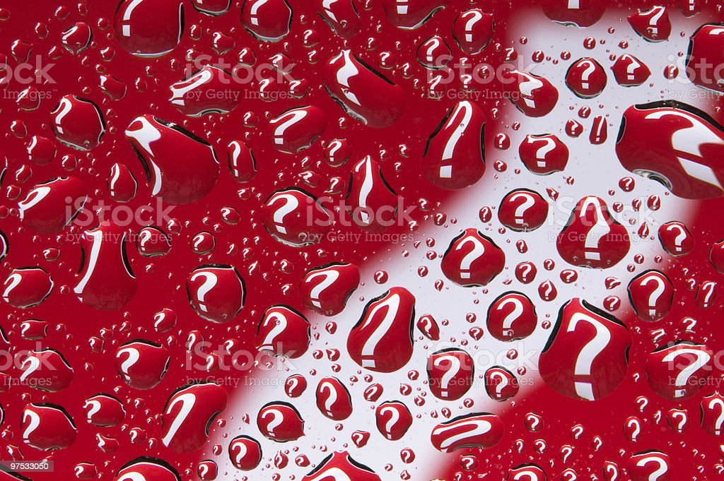 What??? (question mark on red reflected in numerous water droplets) royalty-free stock photo