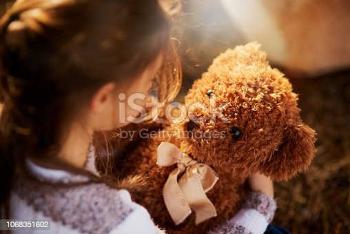 Rearview shot of an unidentifiable little girl holding her teddy bear while playing outside