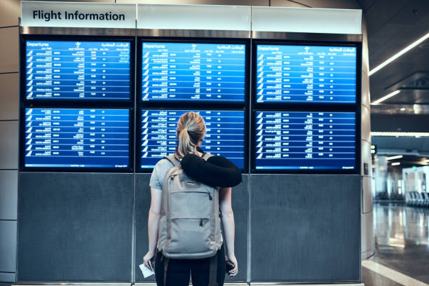 what time is takeoff? - arrival departure board stock photos and pictures