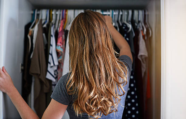 what to wear?! - closet stock photos and pictures