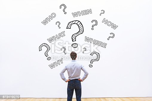 businessman asking many questions, what, where, when, who and how, expert business advice concept