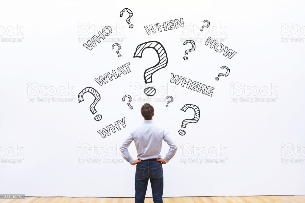 what, where, when, who and how, expert business advice concept stock photo