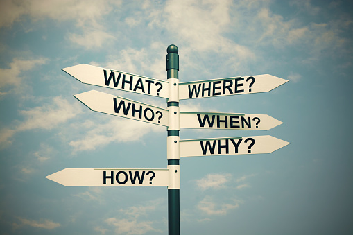 istock What, Where, Who, Why, When, How-written with Direction board 479528526
