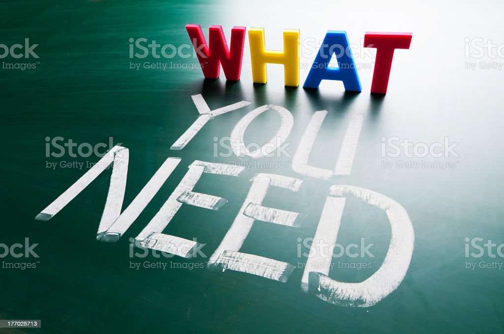 What you need colorful word and words on chalkboard stock photo