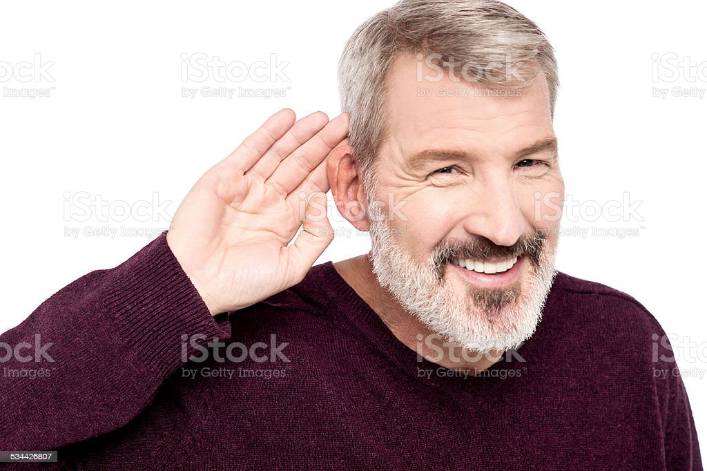 What you said, can't hear you ! stock photo