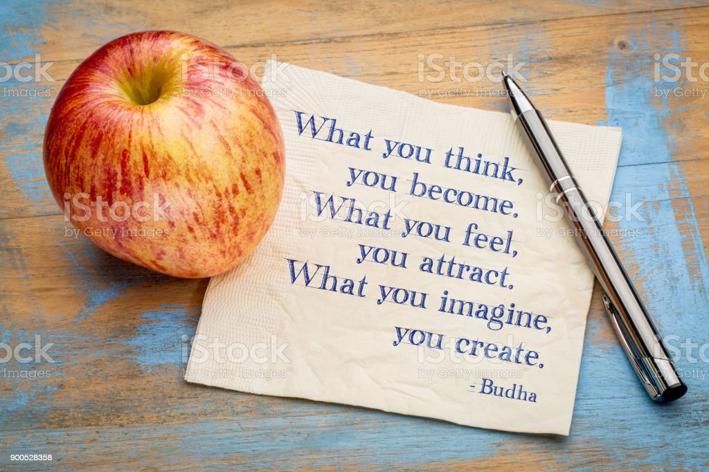 What you think, feel, imagine ... Budha quote stock photo