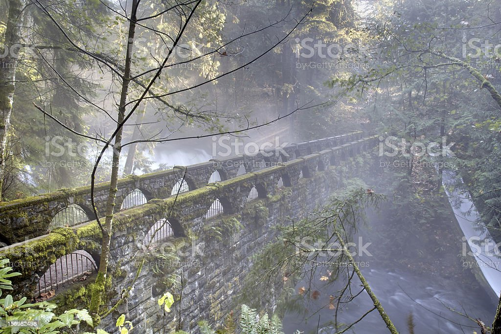 Whatcom Falls Bridge, Bellingham, Washington stock photo