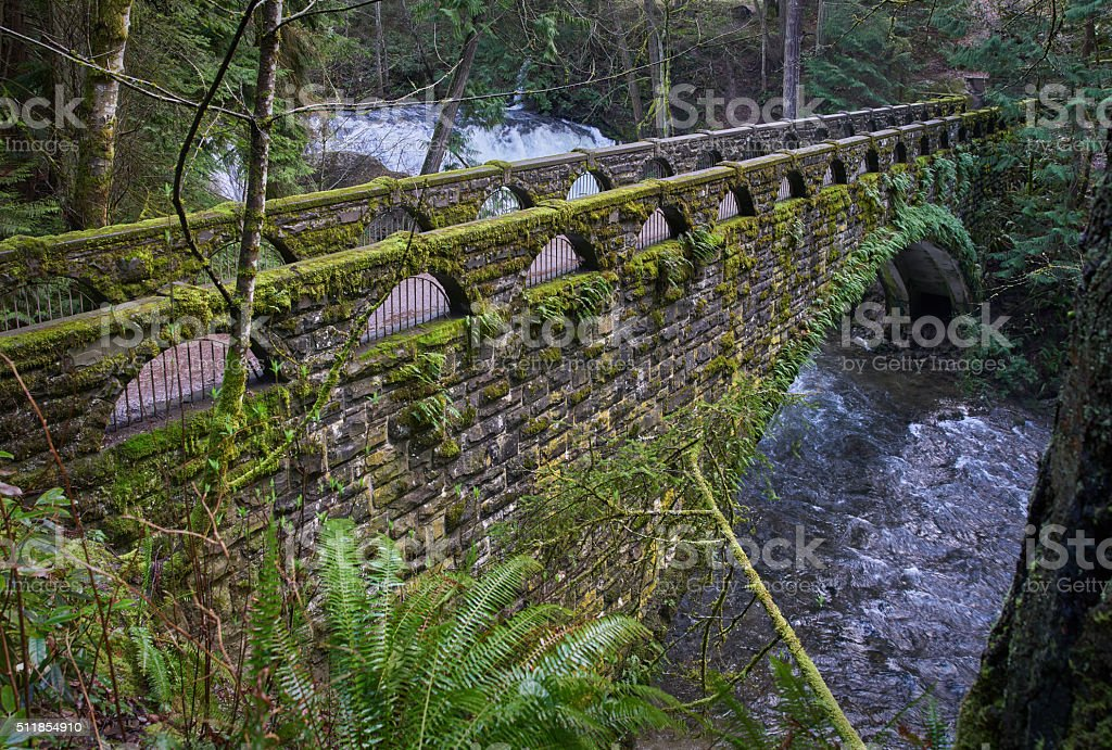Whatcom Falls Bridge, USA stock photo