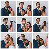 Composite studio image of a newly married young couple in various fun poses against a gray background