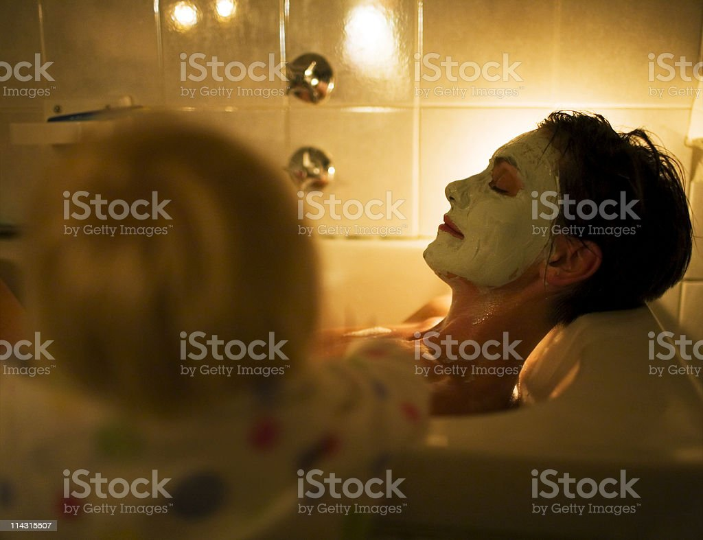 What's mom doing? stock photo