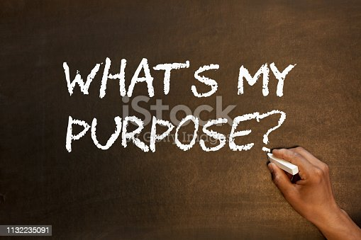 What's My Purpose question handwriting with chalk on blackboard. Business concept.