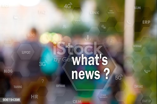 1049305186istockphoto What's news,  on the touch screen with statistics on people blur background.Concept of  what's news? 936194398