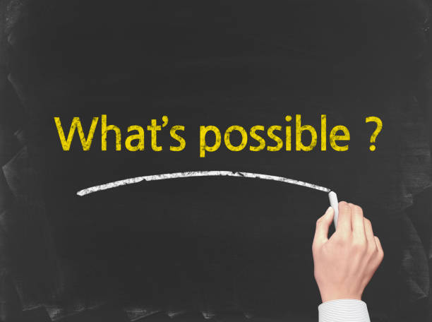 what's possible? - business chalkboard background - possible stock photos and pictures