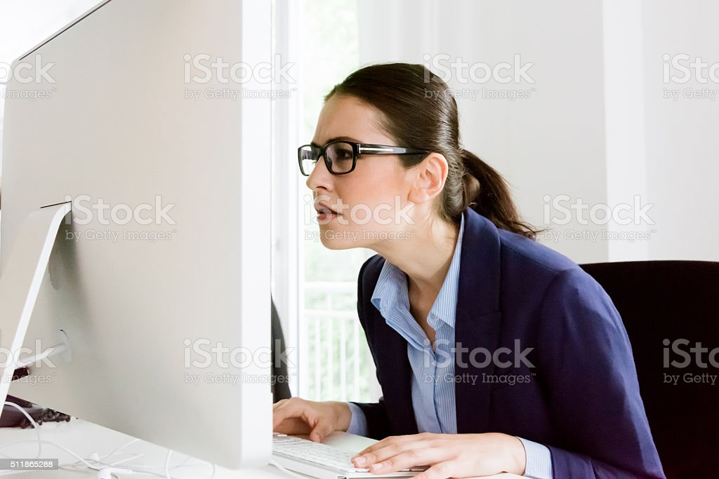What's that? Confused Business Woman stock photo