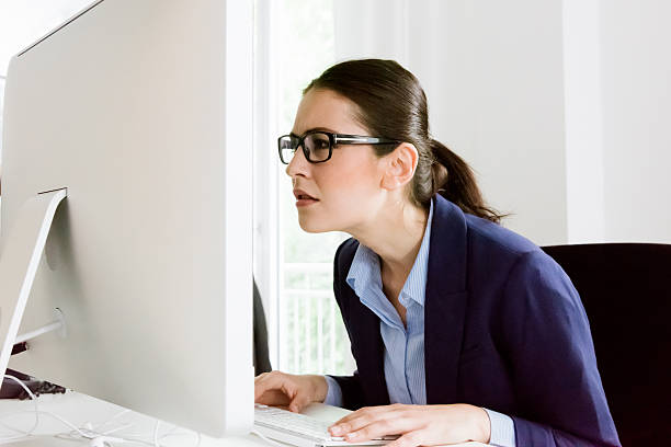 what's that? confused business woman - close to stock pictures, royalty-free photos & images