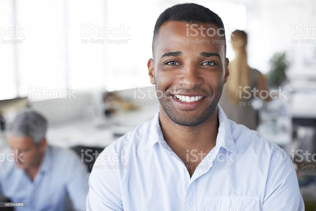 What's the secret to success? Ask this guy! stock photo