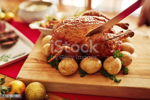 Cropped shot of an unrecognizable person carving a roasted turkey at a celebratory feast