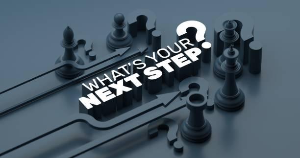 was ist dein nächster schritt? 3d-illustration konzept - der nächste schritt stock-fotos und bilder