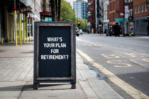 Whats your plan for retirement. Foldable advertising poster on the street Whats your plan for retirement. Foldable advertising poster on the street retirement stock pictures, royalty-free photos & images