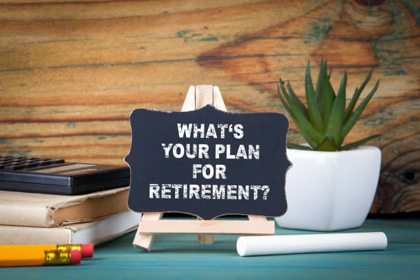what's your plan for retirement. small wooden board with chalk on the table - retirement stock photos and pictures