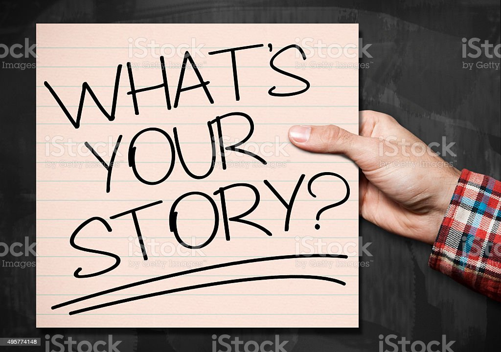 What`s your story? / Blackboard concept (Click for more) stock photo