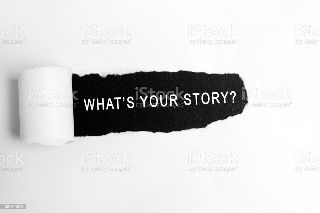What's Your Story on Torn Paper stock photo