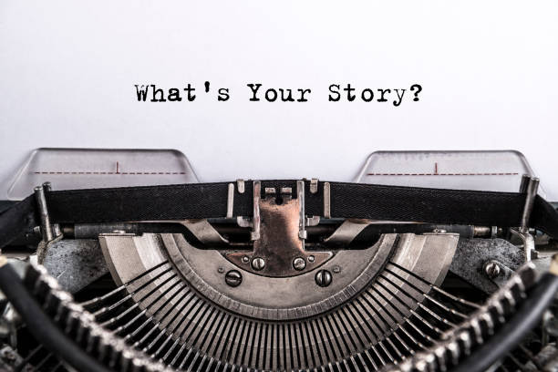 what's your story? The text is typed on paper with an old typewriter, a vintage inscription stock photo