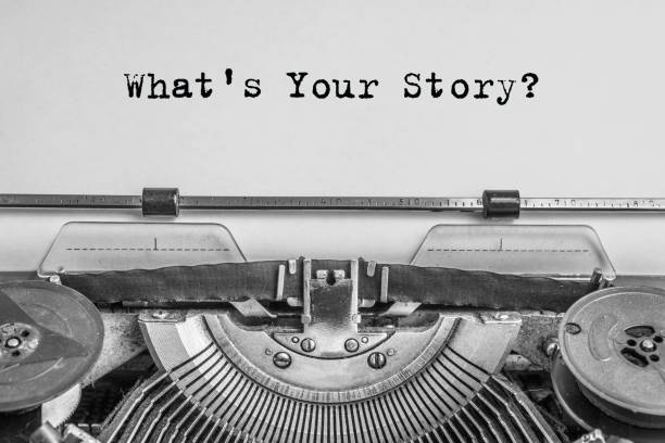 what's your story? the text is typed on paper with an old typewriter - happy holidays zdjęcia i obrazy z banku zdjęć