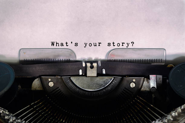 What's Your Story Typed on a Vintage Typewriter stock photo