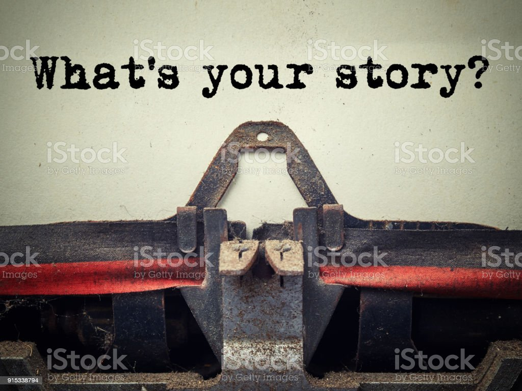 What's your story vintage typewriter closeup stock photo