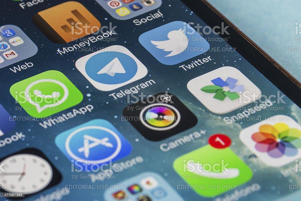 WhatsApp and Telegram Application stock photo