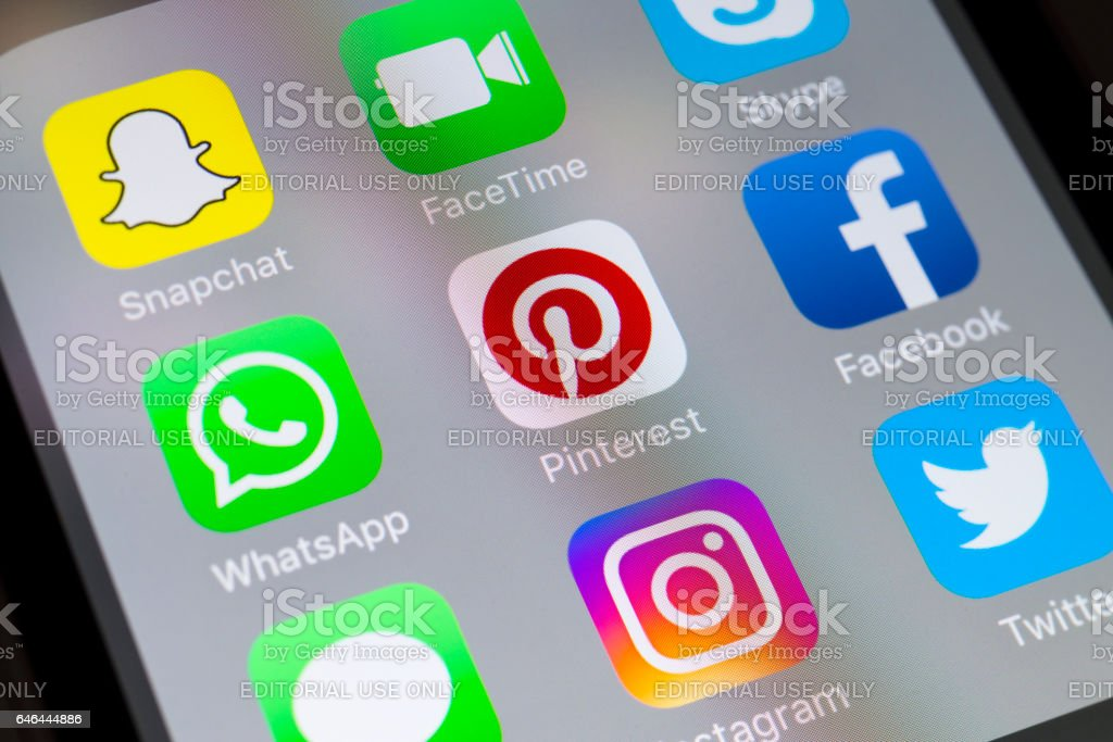 Whatsapp, Pintrest, Facebook and social media apps on cellphone stock photo