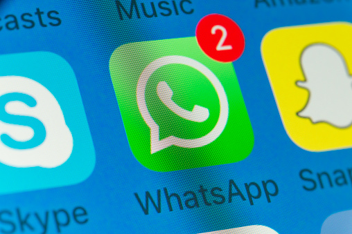 WhatsApp, Snapchat, Skype and other cellphone Apps on iPhone screen