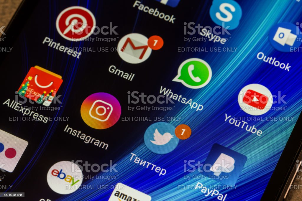 Whatsapp Youtube Instagram Facebook Skype And Other App Icons On The