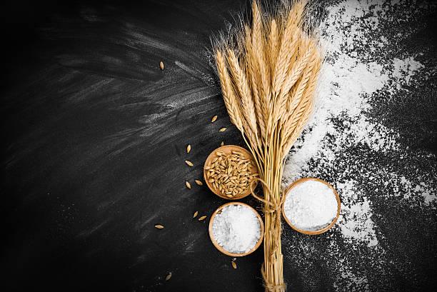 Wheat and flour stock photo