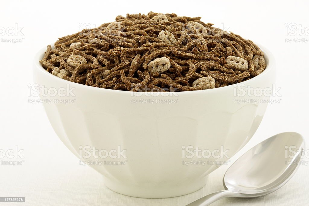 wheat bran and flax cereal breakfast stock photo