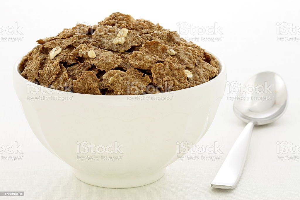 wheat bran flakes cereal breakfast with rolled oats stock photo