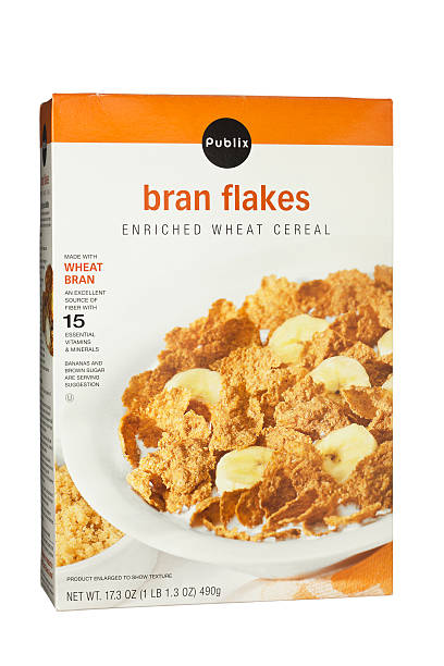 Wheat Bran Flakes Whole Grain Breakfast Cereal stock photo