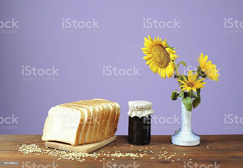 Wheat bread and plum jam royalty-free stock photo