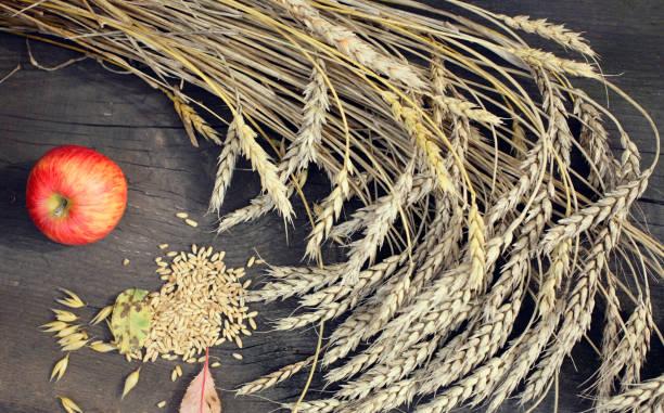 Orelhas de trigo e maçã em fundo de madeira - foto de acervo