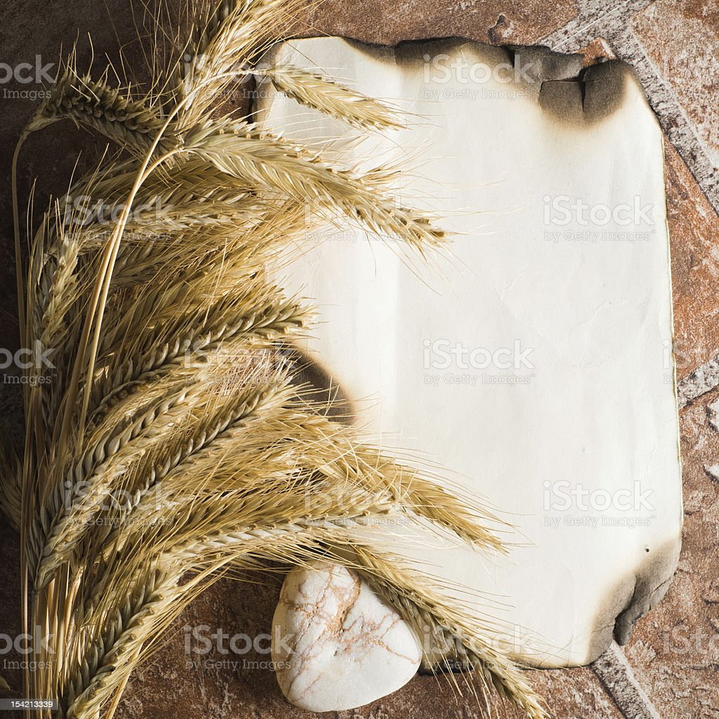 Wheat ears on vintage background royalty-free stock photo