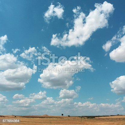 istock Wheat field and cloudscape 577654354