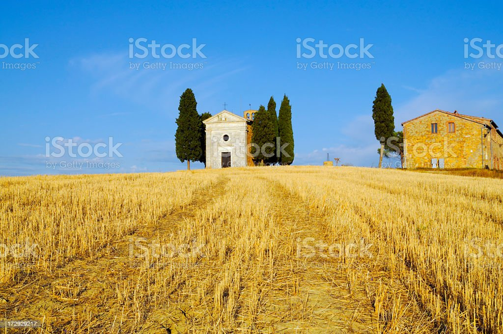 Wheat Field,Chapel and Old Farmhouse royalty-free stock photo