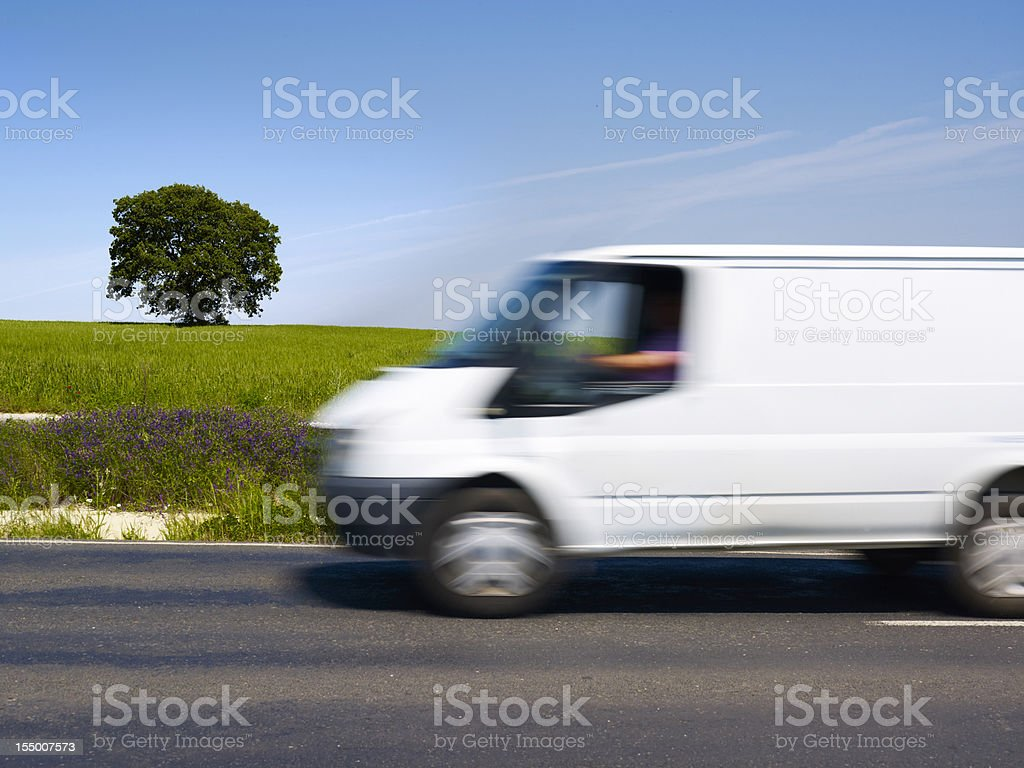 Wheat fields and white van royalty-free stock photo