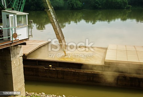 istock Wheat filled in river ship for transportation 1050859638